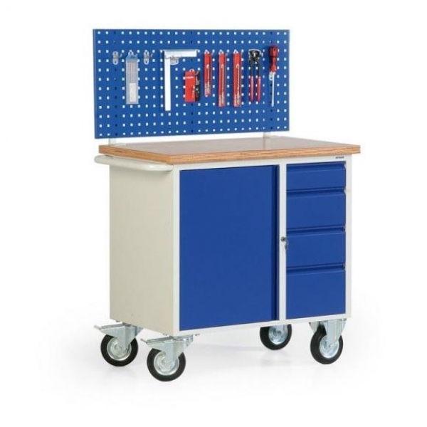 fahrbare werkbank lxbxh 950x560x935 mm lochplatte schrank 4 schubladen han fw 300 01. Black Bedroom Furniture Sets. Home Design Ideas